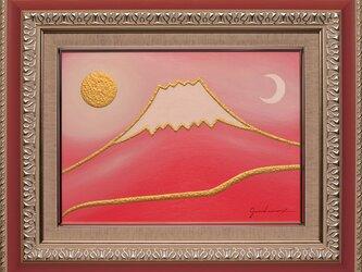 ●『桜色に染まる富士』●がんどうあつし絵画油絵F4号額付紅富士山コーラルピンクの画像