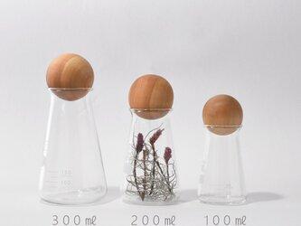 フラスコ(100㎖)と木球の画像