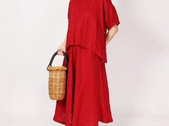 リネンバルーン袖プルオーバー(エンジ)の画像