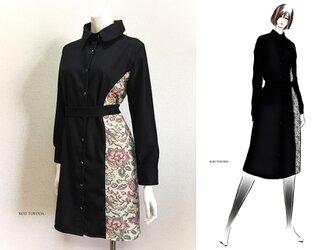 【1点もの・デザイン画付き】ゴブラン織り切り替えシャツ型コートワンピース(KOJI TOYODA)の画像