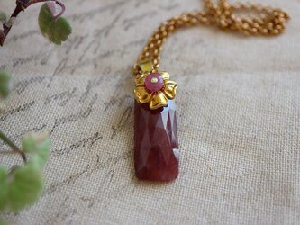 RBJ*9月誕生石*レッドサファイア*ピンクサファイア*真鍮ネックレス*no.518の画像