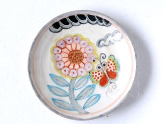 水彩画調/花と蝶絵の六寸皿Ⅱの画像