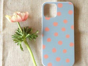 【iPhone / Android】表面のみ印刷*ハード型*スマホケース「mimosa dot(grey & coral)」の画像