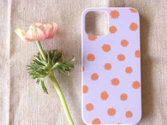 【iPhone / Android】表面のみ印刷*ハード型*スマホケース「mimosa dot(lilac & orange)」の画像