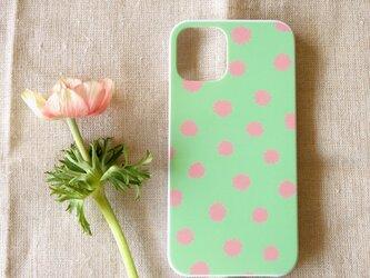 【iPhone /Android】表面のみ印刷*ハード型*スマホケース「mimosa dot(green tea&coral)」の画像
