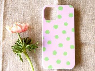 【iPhone /Android】表面のみ*ハード*スマホケース「mimosa dot(sakura & green tea)」の画像