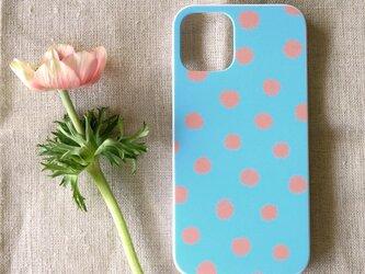 【iPhone / Android】表面のみ印刷*ハード型*スマホケース「mimosa dot(blue & coral)」の画像