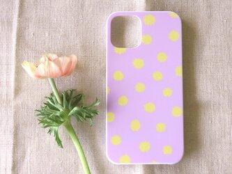 【iPhone / Android】表面のみ印刷*ハード*スマホケース「mimosa dot(lavender&yellow)」の画像