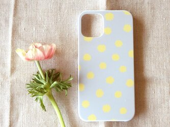 【iPhone /Android】表面のみ*ハード型*スマホケース「mimosa dot(beige grey&yellow)」の画像