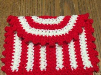 赤白ボーダー小物入れの画像