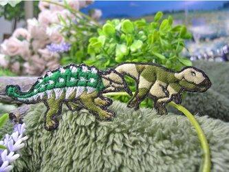 人気の恐竜テラノサウルスアンキロサウルス/カモフラージュb★ワッペン緑迷5-2枚の画像