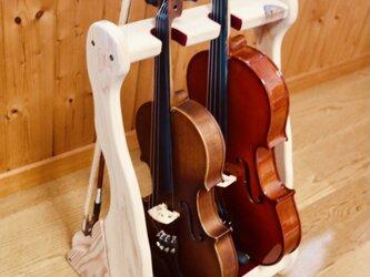 【24時間以内に発送】手作り木工 バイオリンスタンド (ナチュラル) 2本掛けの画像