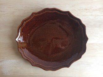 稜花オーバルプレート(アメ)の画像