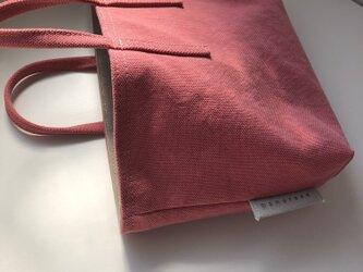 miniバッグ/横タイプ/サーモンピンク×グレーの画像