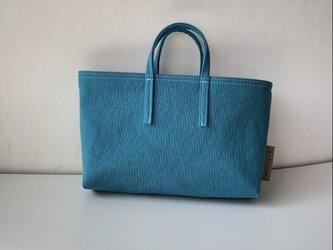 miniバッグ/横タイプ/ターコイズブルー×ベージュの画像