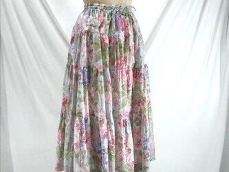 ウエストゴム 4段ティアードスカート(ミント)の画像