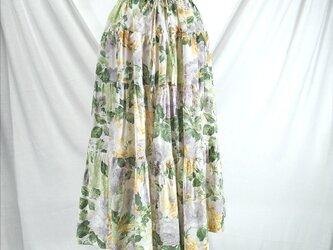 ウエストゴム 4段ティアードスカート(黄)の画像