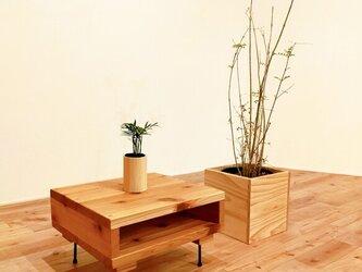 ■古材風足場板とアイアンのセンターテーブル/ローテーブル/サイドテーブル/デスク/無垢/杉/インダストリアル/シンプルの画像