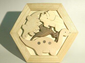 木のパズル 恐竜たち S トリケラトプスなど の画像
