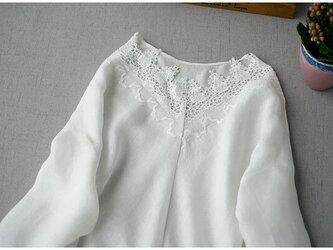 春、夏、秋リネン100%レース刺繍お洒落シンプルな大人可愛いワンピース♪【ホワイト】の画像