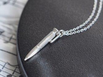 ミニチュア ボールペン メンズ ネックレス シルバー925の画像