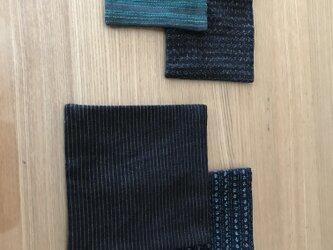会津木綿と久留米絣コラボ 親子コースターの画像