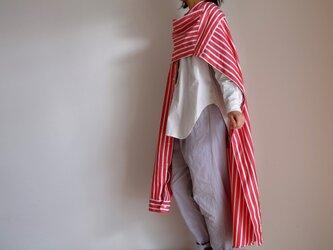 春の新作・シャツ袖ワンピース / Lサイズ/ ハーフスリーブ/トーマスメイソン コットン 太ストライプ【白と赤】の画像