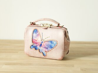 【蝶々】がま口バッグ 本革手作りのレザーショルダーバッグ 総手縫い 手持ち 肩掛け 2WAY 鞄 大の画像