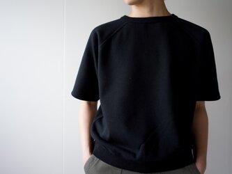 吊り裏毛5部袖スゥェットシャツ/blackの画像