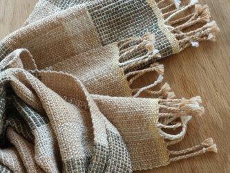 【手織り】茶綿と緑綿のストールの画像