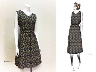 【1点もの・デザイン画付き】ベルト付きノースリーブゴブラン織りワンピース(KOJI TOYODA)の画像