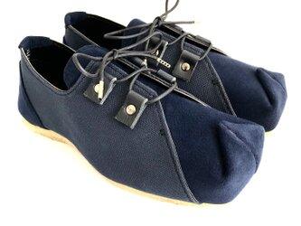【bargain sale‼】Mサイズ(23〜24cm) SQUARE sneakers #倉敷帆布 #micro-fiberの画像