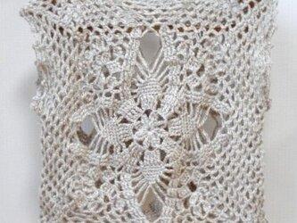 純毛の模様編みベストの画像