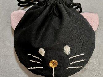 ネコ型巾着袋の画像