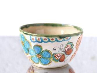 水彩画調/花と蝶絵のボウルの画像