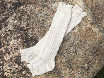 オーガニッックコットン100% 草木染め かかと付きレッグウォーマー【受注制作】の画像