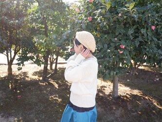 オーガニッックコットン100% 草木染め ぽこぽこ柄ベレー帽【受注制作】の画像