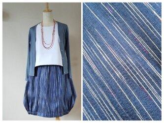 タイhandmadeシルク バルーンスカート 紺青系~ピンクのラメ線入りの画像