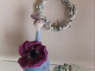 空色の花こけしとミニリースの画像
