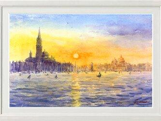 水彩画原画 ヴェネツィア夕日 #454の画像