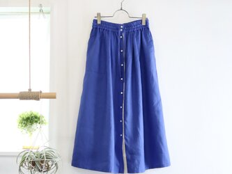 french linen front button skirt (cobalt blue)の画像