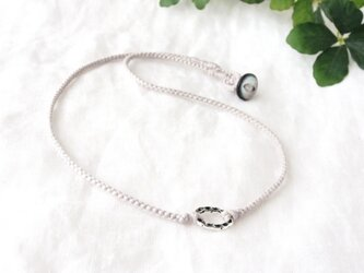 Oval Ring Short Necklace -gray-の画像