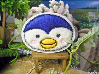 ★ほっぺにペンギン★もこもこワッペン★アイロン★白青f10-1枚の画像
