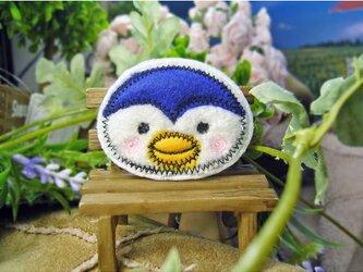 ★ほっぺにペンギン★もこもこワッペン★アイロン★白青f6-1枚の画像