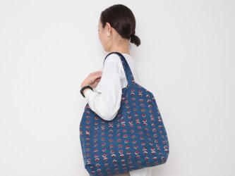 Hand block print kinchaku bag / sankakuの画像