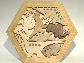 木のパズル 恐竜 A いろんな木を集めての画像