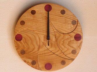 無垢の木の電波掛け時計 くり 0073の画像