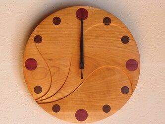 無垢の木の電波掛け時計 さくら 0013の画像
