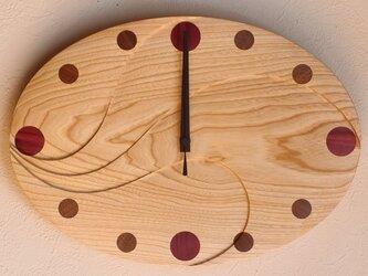 無垢の木の電波掛け時計 せん 0014の画像