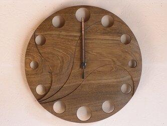 無垢の木の電波掛け時計 神代ニレ 0003の画像